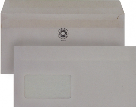 Briefumschlag, DIN Lang, mit Fenster Selbstklebend, Recycling, grau, 75g