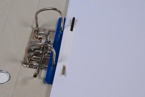 Heftstreifen kurz Kunstst. blau mit Kunststoffdeckleiste