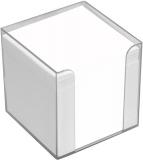 Büroring Zettelbox transparent Kunststoff, 9x9x9cm, weißes Papier