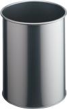 Metall Papierkorb rund, 14,7 Liter 315mm hoch aus Stahl lichtgrau