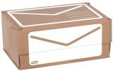 Versandbox für A5+, braun/weiß Höhe 10 cm, Selbstklebeverschluß,