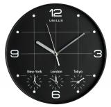 Quarz-Wanduhr On Time, schwarz, Ø 30,5 cm, 4 verschiedene Zeitzonen